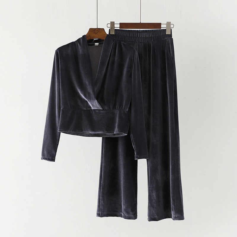 レディース春秋のファッション pleuche スーツ女性気質ベルベット薄型 v ネックシャツ + ハイウエストワイド脚パンツ 2 A046