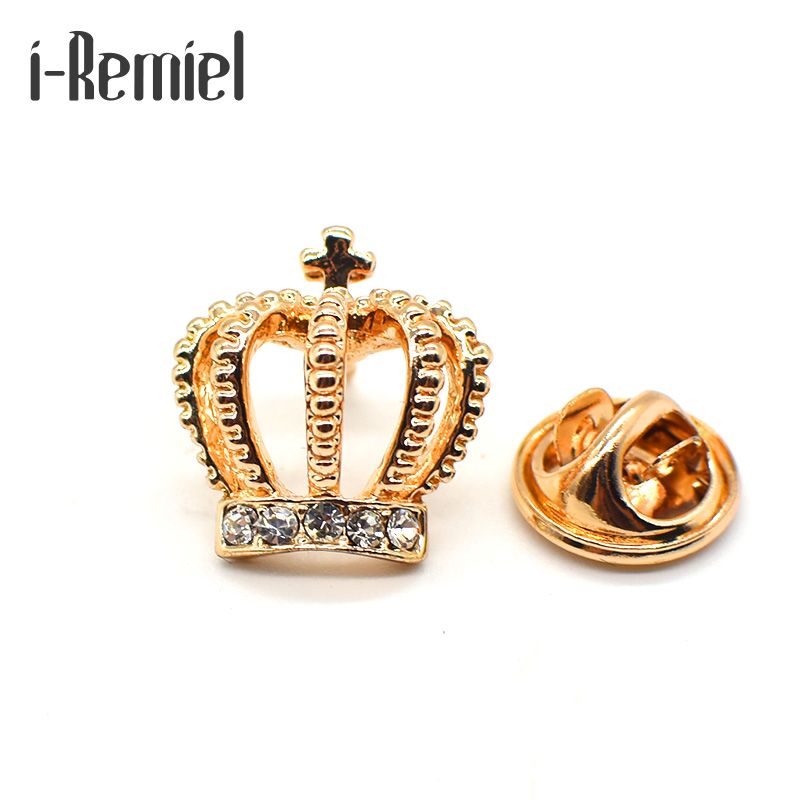 2017 Sale Rushed Zinc Alloy Brooches Broche Korean Fashion Mini Collar Mens Suit Small Crown Brooch Womens Shirt Clip Angle