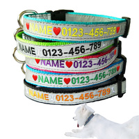 Custom Embroidered Reflective Safety Tough Nylon Dog Collar Personalized Name ID Collar With Stainless Steel Metal