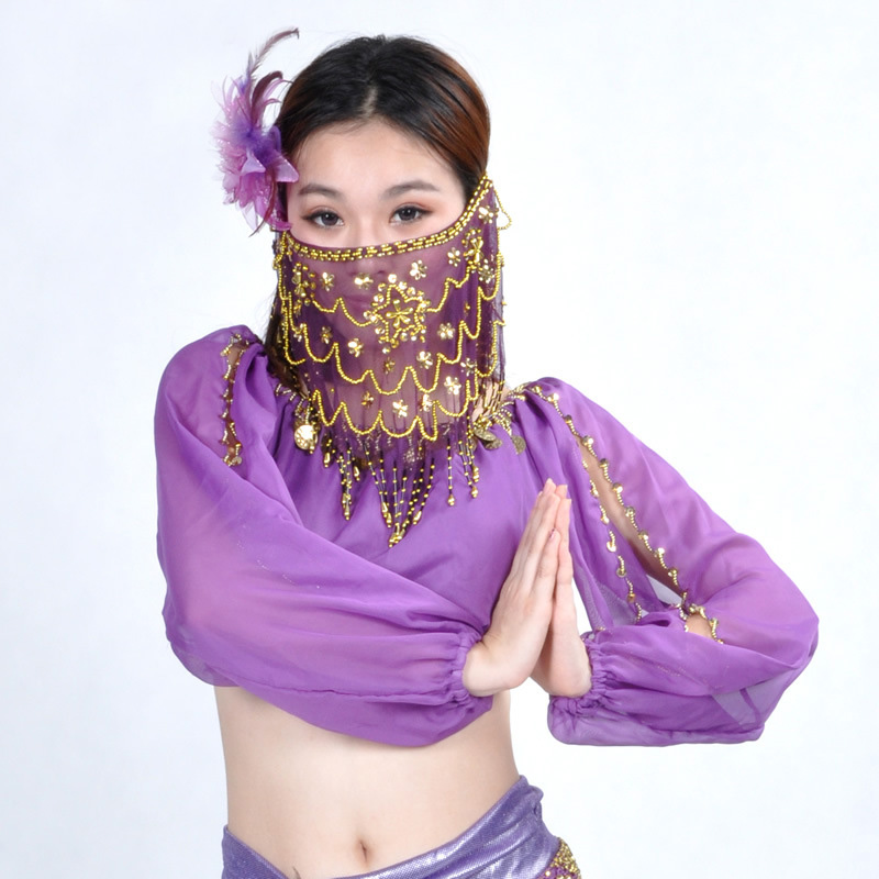 2016 High Quality Cheap Women Indian Tribal Belly Dance Face Veil For The Sale Of Different Colors 9 Color HOT Wholesale