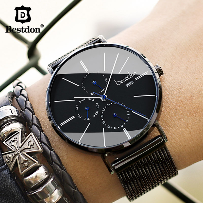 Bestdon Luxury Men s Wrist Watches Imported Quartz Waterproof Slim Clock Stainless Steel Week Month Top