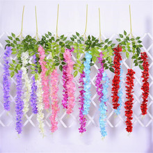 12pcs Silk Wisteria Flower Vine Artificial Hydrangea flower stems for Wedding Home Floral Decoration