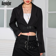 Auyiufar Office Lady Fashion Women Short Coat with Buckle Long Sleeve V-Neck Solid Jacket For Female 2019 Black Casual Tops