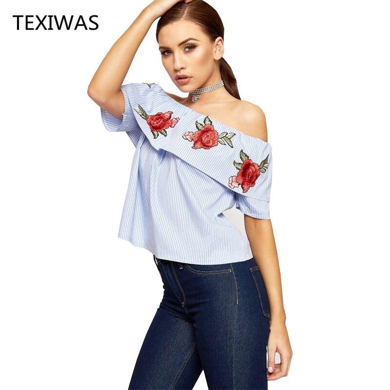 Блузка в полоску, открытые плечи, короткие рукава