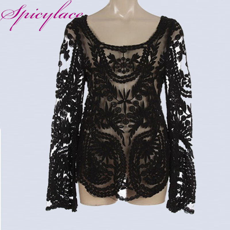 Women Sexy Vintage Black Sheer Floral Lace Victorian Romantic Long Sleeve Solid Casual O-Neck Party   Blouse     Shirts