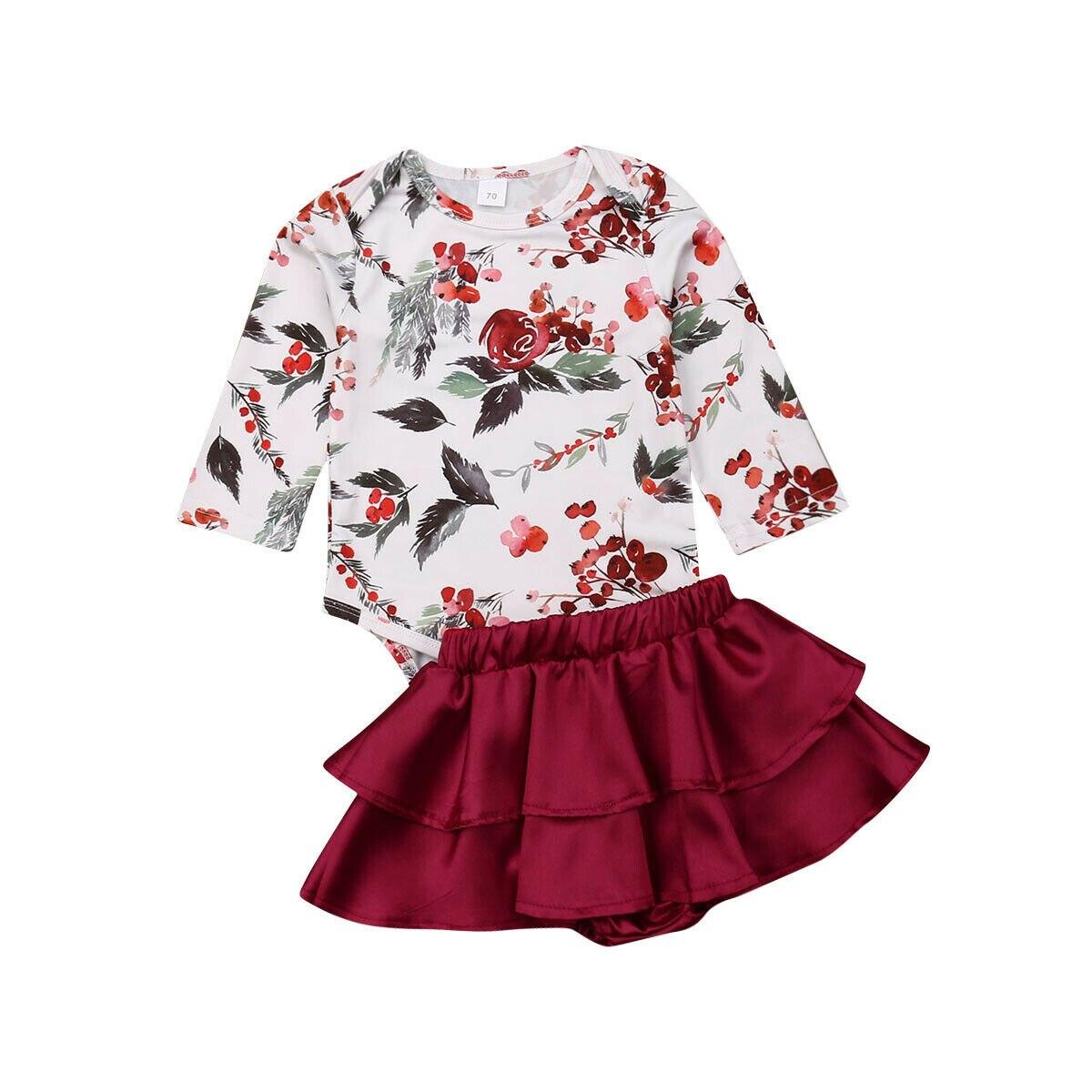 0-18 M Nette Neugeborene Baby Mädchen Langarm Blumen Body Tops Tutu Layered Umsäumte Shorts 2 Pcs Prinzessin Mädchen Kleidung