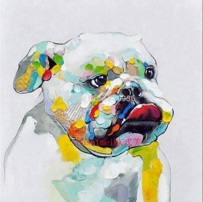 Ручная работа абстрактные животные играть фортепиано лягушка картина для комнаты настенный Декор ПЭТ индивидуальная покраска на холсте бульдог крокодил - Цвет: Bulldog