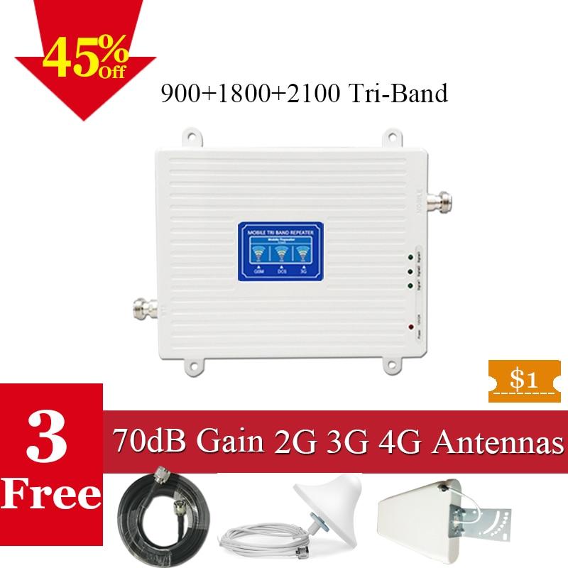 70dB GSM 4G Mobile Réseau Booster 900/1800/2100 Téléphone Portable Cellulaire Répéteur 2G 3G 4G LTE Signal Booster Cellulaire 4G Amplificateur