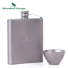 Boundless Voyage Titanium Hip Flask Sake Cup Set Outdoor Kemp Turistika Cestování Piknik Whisky Wine Tea Flagon Mug Drink 200ml