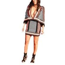 Newest Runway Dress Women's Sexy Deep V Collar Heavy Beaded Bat Sleeve Plaid Stretch Bodycon Dress 170104WG05