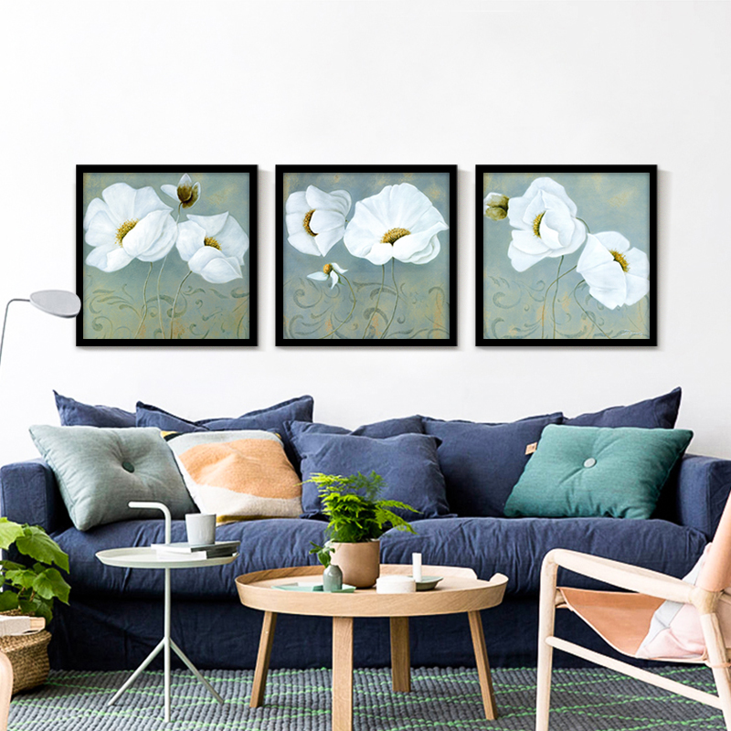 Elegant Pure White Floral Canvas Painting Splendid Flower Picture Wall Art Oil  Painting Home Decorative Prints No Frame