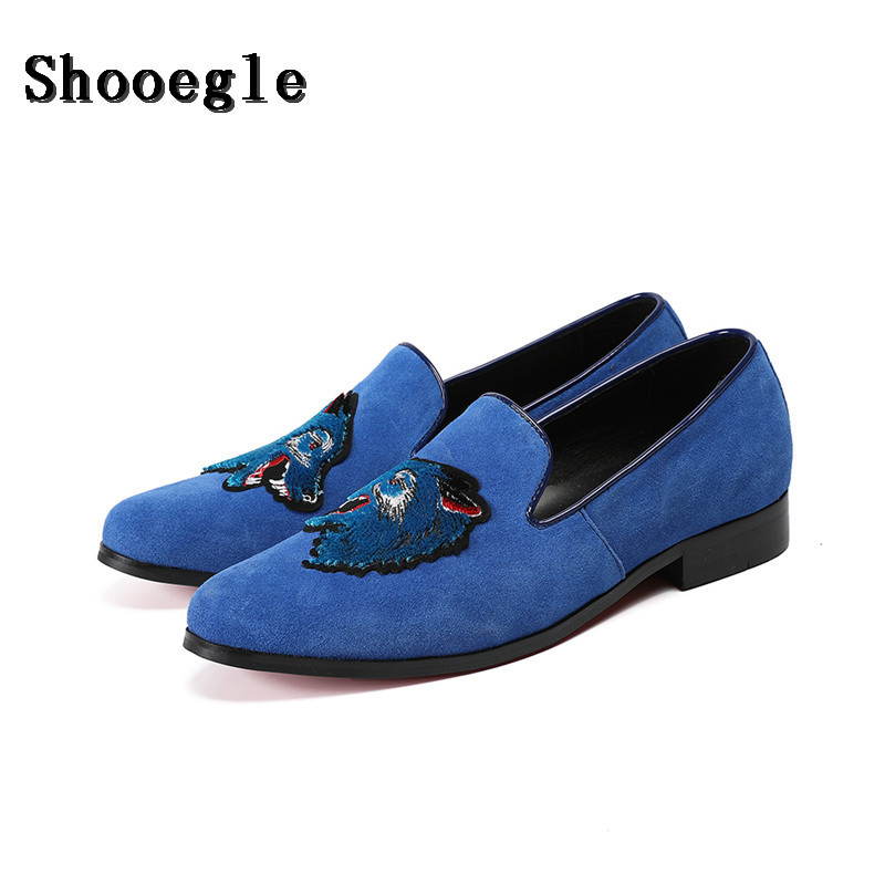 SHOOEGLE Men Blue Suede Loafers Handmade Embroidery Casual Shoes Fashion Man Comfortable Dress Party Shoes Size EU37-EU47SHOOEGLE Men Blue Suede Loafers Handmade Embroidery Casual Shoes Fashion Man Comfortable Dress Party Shoes Size EU37-EU47