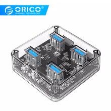 ORICO MH4U 4 Ports USB3.0 Transparen HUB with Rubber anti-skid pad reserced external power supply  цена и фото