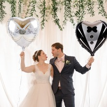FENGRISE Cute Bride Groom Balloon Engagement Party Decorations Bridal Decoration Wedding Table Valentines Day