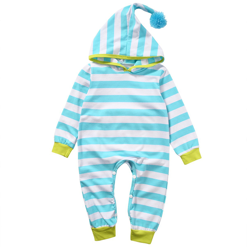 0-18M Newborn Baby Boy Girl Cotton Hooded Long Sleeve Romper Toddler Hip Patch Stripe Bodysuit Clothes Set Ropa Para Bebes