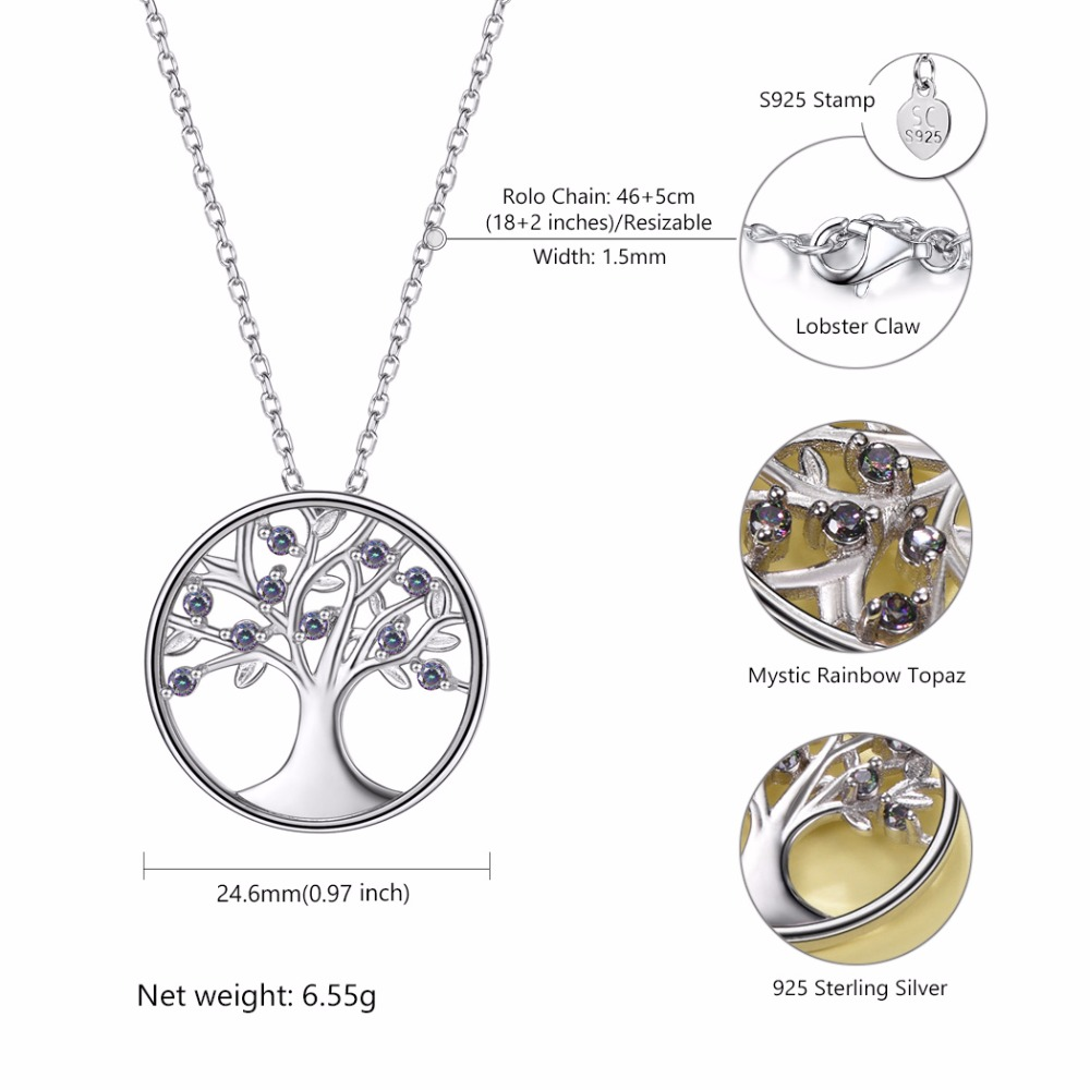 Image 3 - U7 100% 925 Sterling Silver Tree Of Life Round Pendant