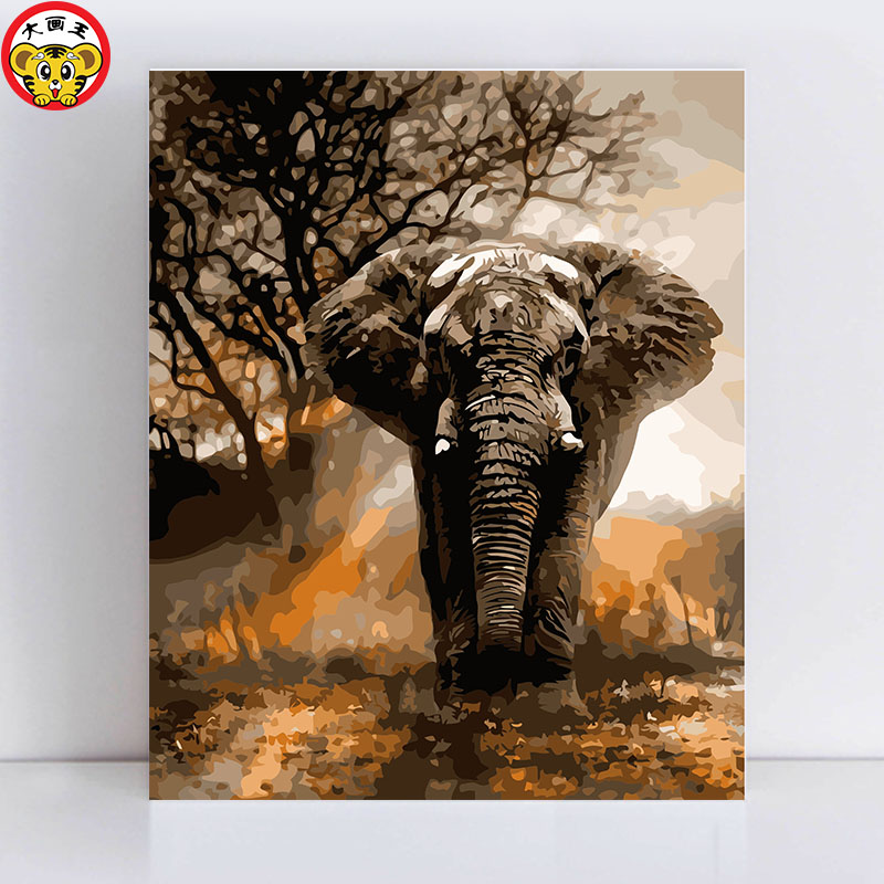 Painting By Numbers Art Paint By Number Running In The Fury Of An Elephant Paintings By Numbers On Canvas