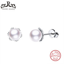 Rinntin 100% Sterling Silver Stud Earrings with Stimulated Pearls Elegant Party Engagement Wedding Jewelry Women Gift TSE65