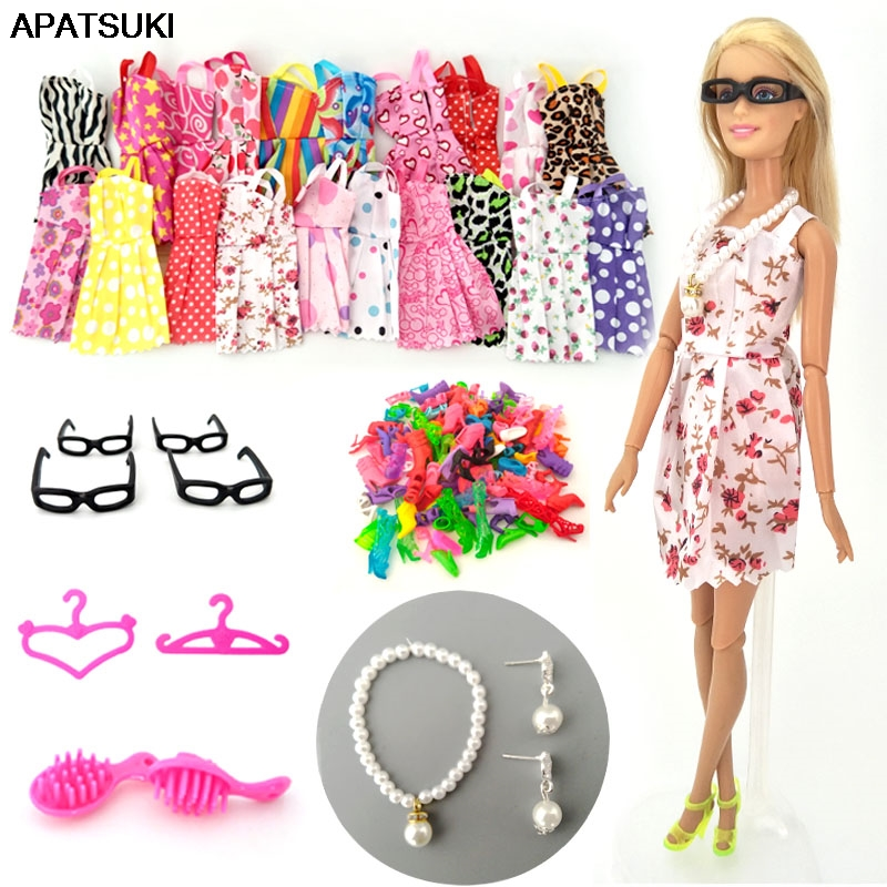 <font><b>30</b></font> items/set Doll Accessories = 10 Pairs <font><b>Shoes</b></font> & 10 Fashion Dress For Barbie Doll Outfit Clothes Necklace Earring Glasses Comb image