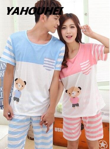 Womens   Pajamas     Sets   2019 Summer Couple Pijama Bear Print Striped Pocket Short-Sleeve Shirts Striped Shorts Mujer Leisure Pyjamas