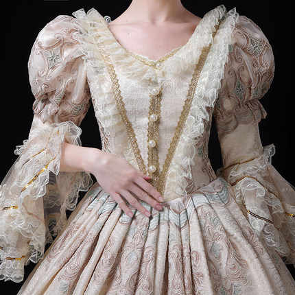 light champagne beading vintage rococo medieval dress renaissance Gown queen Victoria/Marie/ Belle Ball/drama/ball gown