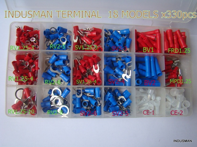 Terminales 330pcs/lot Insulated Terminals Electrical Crimp Connector Spade Ring Fork Assortment Kit