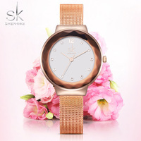 SK Clock Famous Brand Women Luxury Watches Ladies Rhinestones Wristwatches Gold Plated Women Diamond Watch Relogio