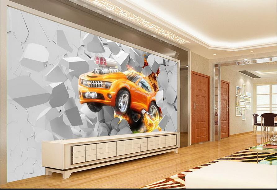 3d photo wallpaper custom mural kids room flame broken wall car 3d painting sofa TV background non-woven wallpaper for walls 3d