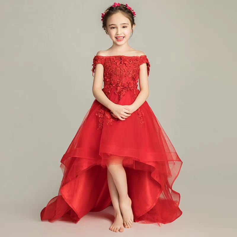 все цены на Kids Children Shoulderless Birthday Wedding Party Princess Lace Flowers Long Tail Prom Dress Girls Model Show Costume Dress онлайн