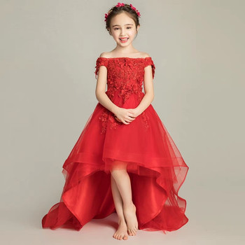 Kids Children Shoulderless Birthday Wedding Party Princess Lace Flowers Long Tail Prom Dress Girls Model Show Costume Dress