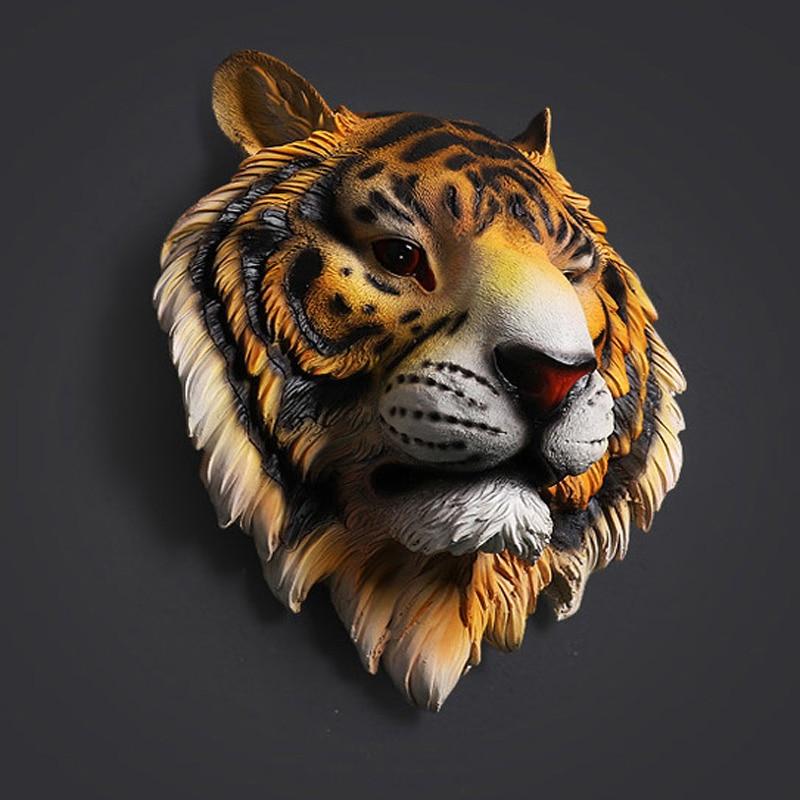 Tiger Head ประติมากรรมแขวนผนังรูปปั้นตกแต่งเรซิ่นสัตว์เครื่องประดับงานศิลปะหัตถกรรมไวน์บาร์ตกแต่งสำนักงาน-ใน รูปปั้นและงานประติมากรรม จาก บ้านและสวน บน   3