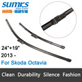 "Wiper blades for Skoda Octavia Third Generation ( from 2013 onwards) 24""+19"" fit push button type wiper arms only"