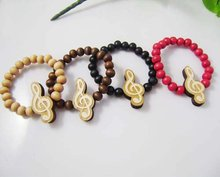 30PCS Good Quality wood rosary beads wooden Music symbol pendant chain Bracelet