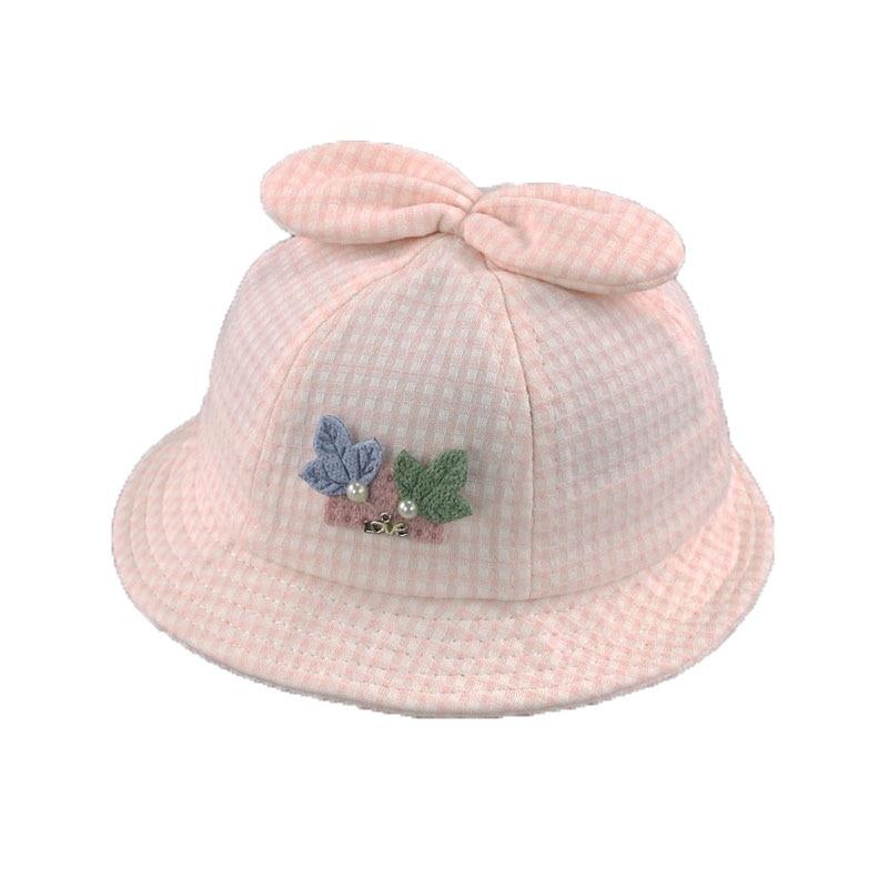 2018 Unisex Baby Flat Bucket Hats Child Kids leaves Ear Design Plaid Fisherman Caps Sun Protective Hat MZ5576