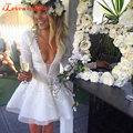 Fashion White Short Cocktail Dresses Deep V-neck Full Sleeve with Applique and Beading Above Knee Sexy Party Gowns Handmade 2016