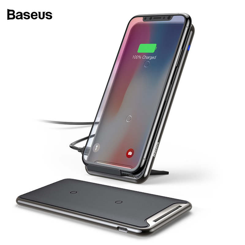 Baseus 10 W QI cargador inalámbrico para iPhone Xs Max Samsung S10 Xiaomi mi 9 rápido inalámbrico plataforma de carga inalámbrica docking estación Dock