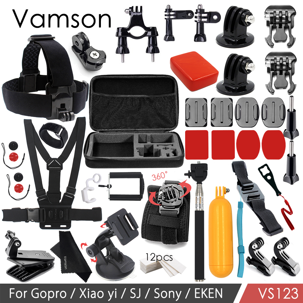 Galleria fotografica Vamson Accessories for Gopro Hero 6 5 4 3+ Kit Set Floating Bobber Head Chest Strap Monopod Mount for Xiaomi Yi for SJ4000 VS123