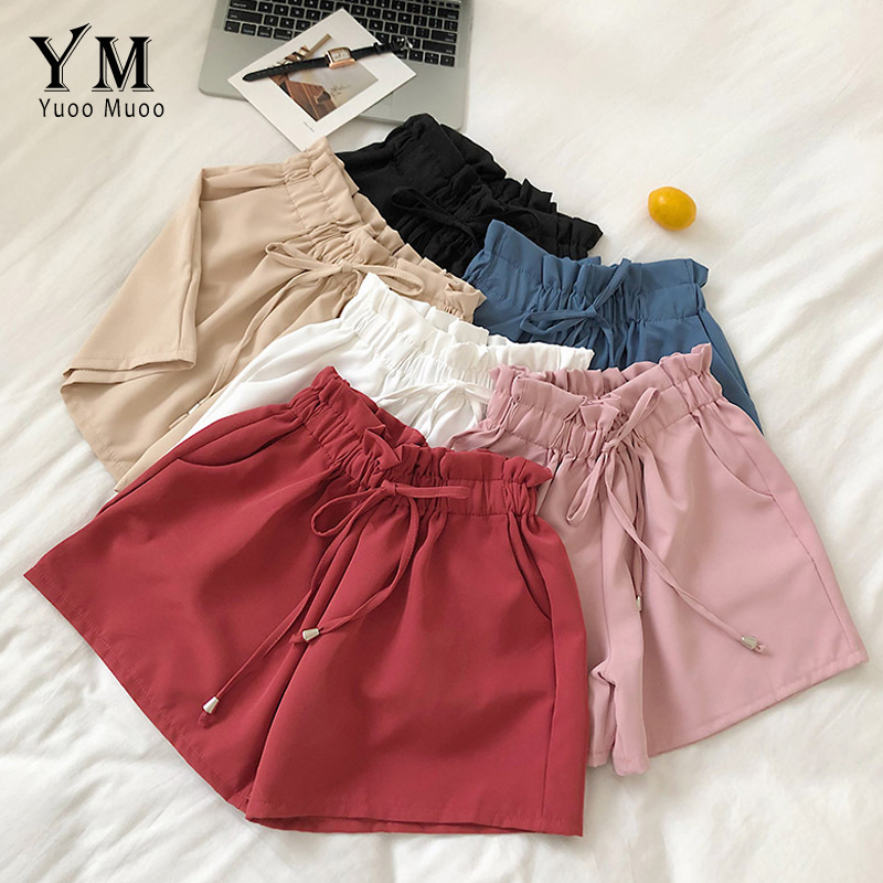 YuooMuoo Paperbag High Waisted Shorts For Women 2019 Summer Candy Colors Girl Wide Leg Short Pants Loose Casual Shorts Feminino