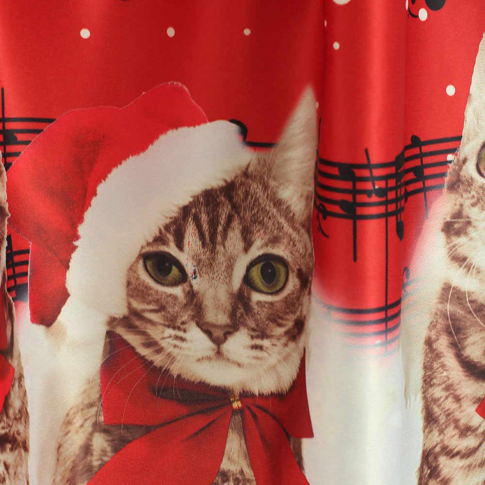 494815b03e3a ... Christmas Dress Women 2018 Fashion Sleeveless Christmas Cats Musical  Notes Print Vintage Flare Dress vestido navidad ...