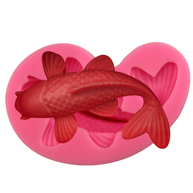 Silicone fondant cake molds 3d fish candle moulds soap for Silicone fish molds