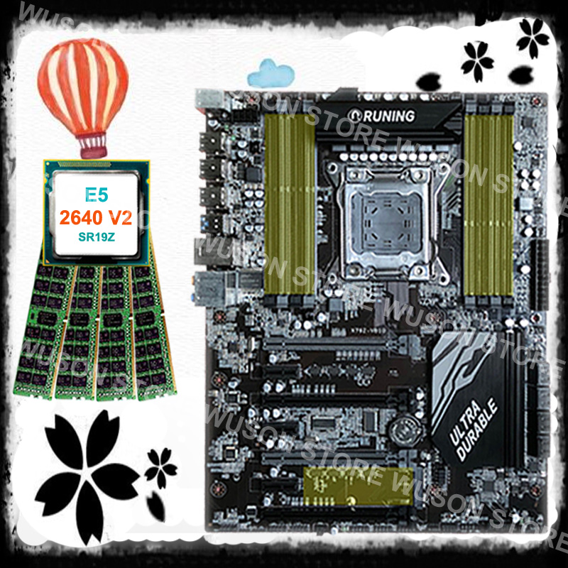Super quality guarantee brand new Runing X79 gaming motherboard CPU Intel Xeon <font><b>E5</b></font> <font><b>2640</b></font> <font><b>V2</b></font> 2.0GHz memory 16G(4*4G) DDR3 REG ECC image