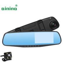 Ainina Автомобильный видеорегистратор Камера 4,3 дюймов двойной объектив заднего вида Зеркало Автомобильная камера рекордер с камерой заднего вида