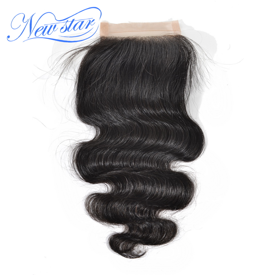 "New Star Body Wave 4x4 Lace Closures 10"" to 20""Inches Natural Color 100% Human Hair Free Part With Baby Hair Free Shipping"