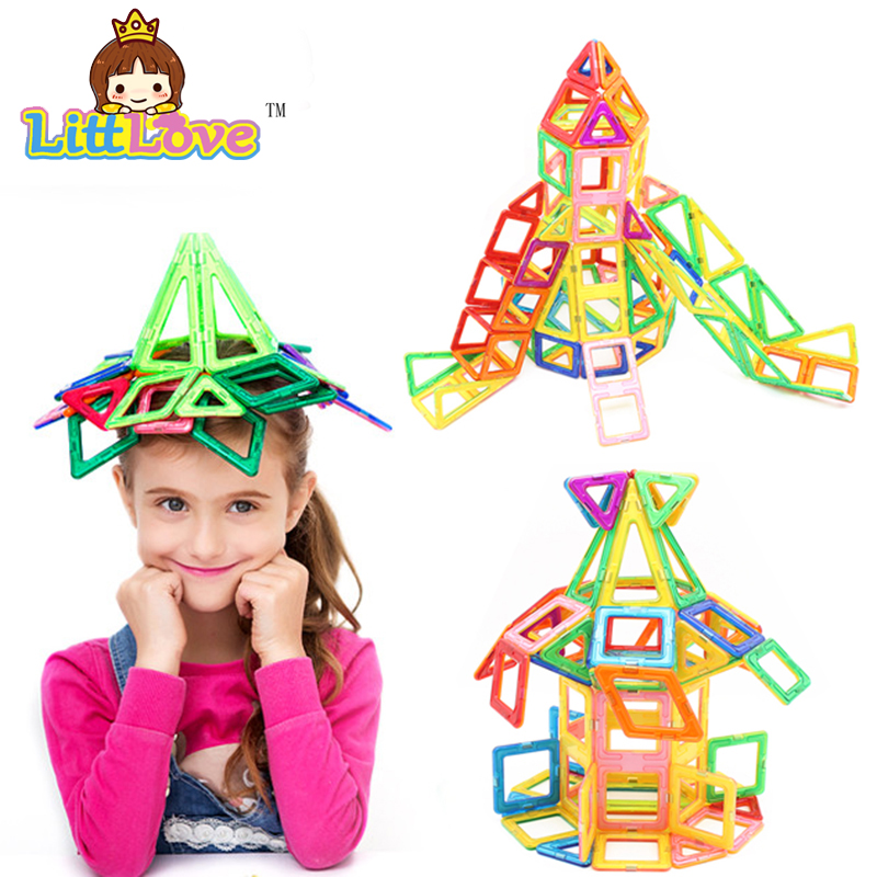 Littlove 65 шт. Магнитный конструктор construction set модель и строительство игрушки Пластиковые Образования магнитных блоков игрушки для детей