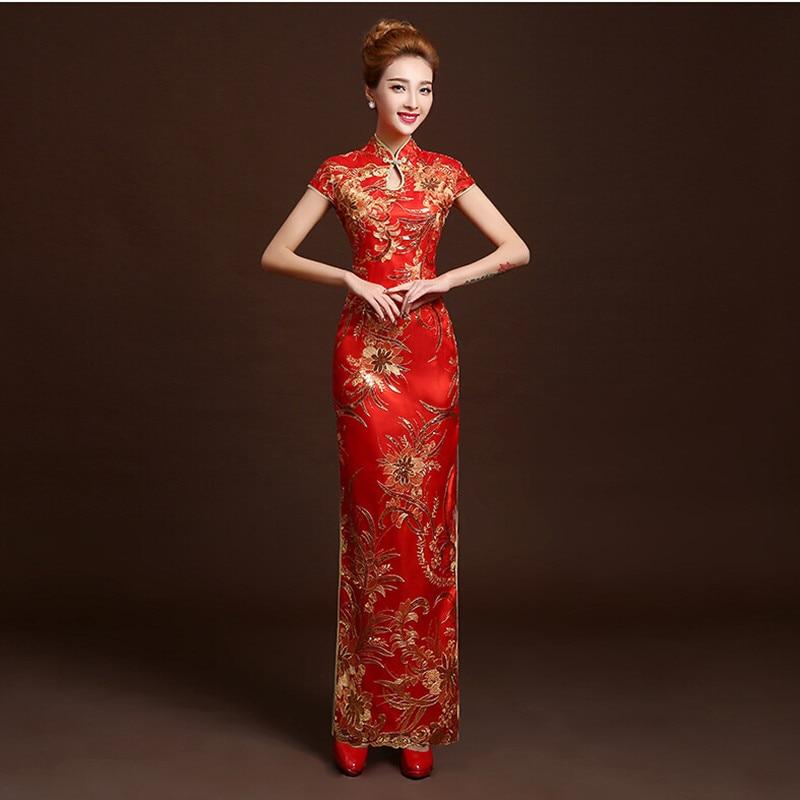4 цвета модные красные Кружево невесты свадебное Qipao долго Cheongsam китайское традиционное платье Тонкий ретро QI Pao Для женщин под старину Плать...