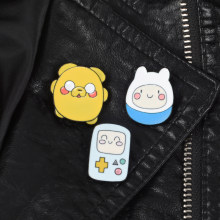 Set of 3 Cartoon Character Enamel pins Adventure Time with Finn and Jake Backpack Bag Hat Leather Jackets Fashion Accessory(China)