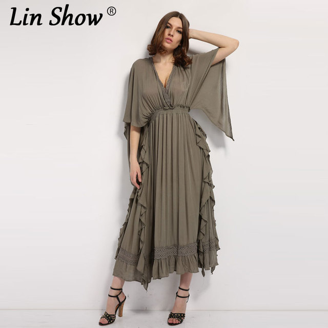 Butterfly Sleeve Maxi Dress