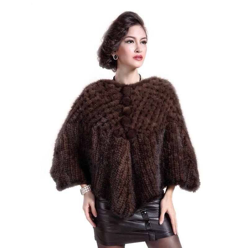 Módní nový dámský pletený norský kabát, elegantní dámský kožich norských žen, pletený šátek s kapucí Mink