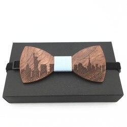 gravata borboleta Fashion Men Wood Bow Tie Marry Wedding Party Men's Boy's Butterfly Wooden Shirt Bow Tie casamento