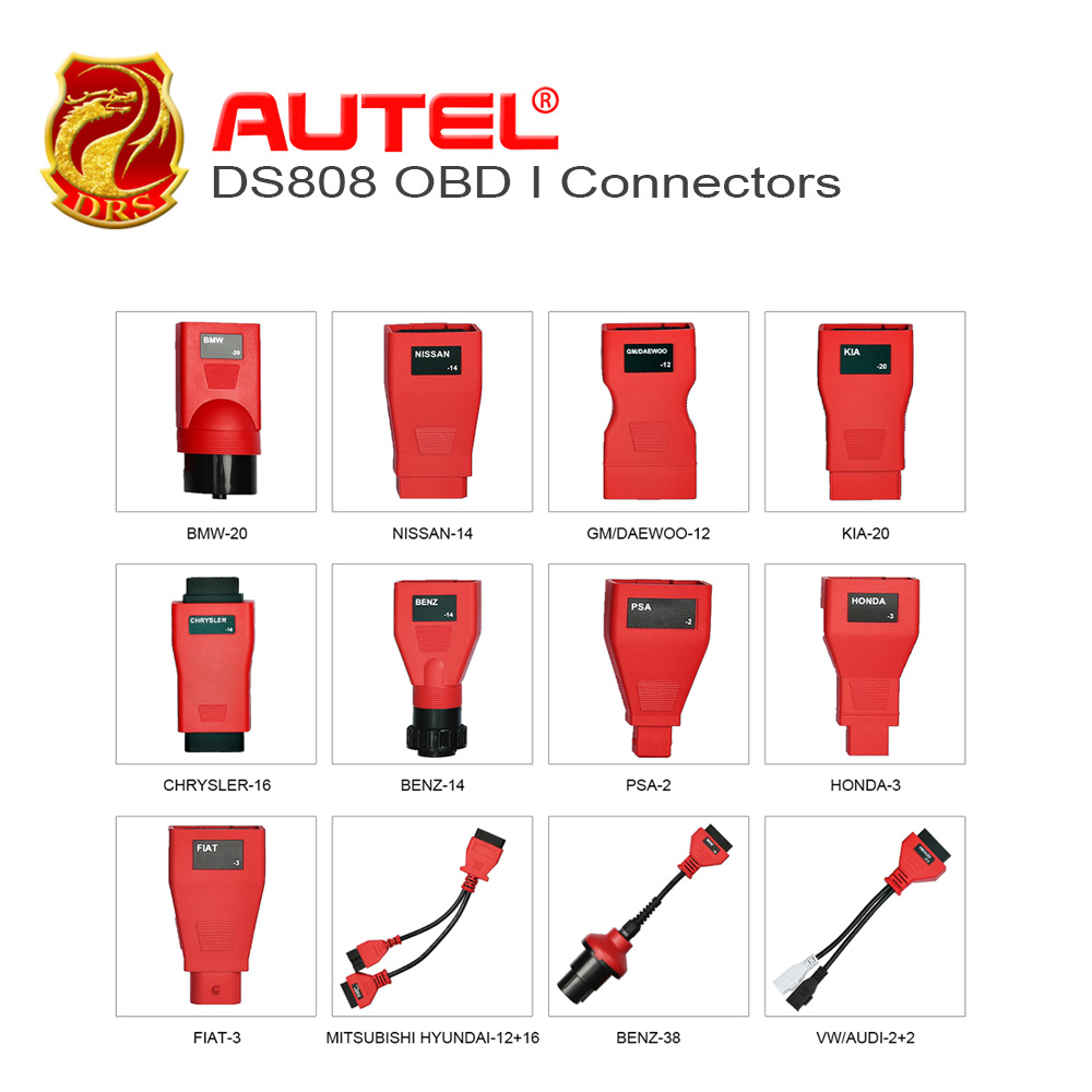 Autel DS808 Full kit OBD I Adapters/Connectors (12 pcs) help you diagnostic the vehicles that produced before 2002 work on DS808